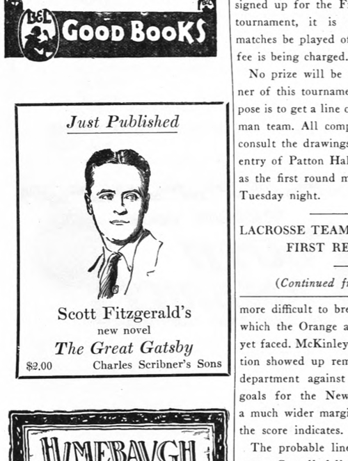 The original ad for The Great Gatsby found in a 1925 issue of Princetonian