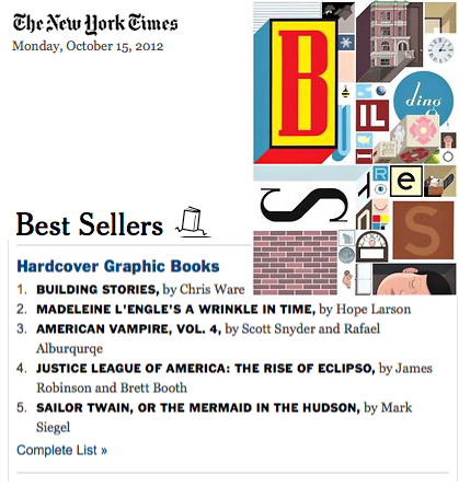 New York Times Bestseller List Chris Ware Building Stories Graphic Novel Pantheon Books