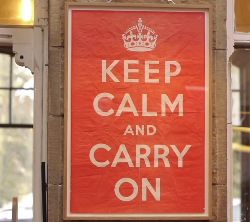 KEEP CALM AND CARRY ON Poster at Barter Books Bookstore