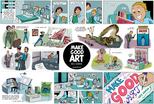 Neil Gaiman Speech MAKE GOOD ART Poster Zen Pencils