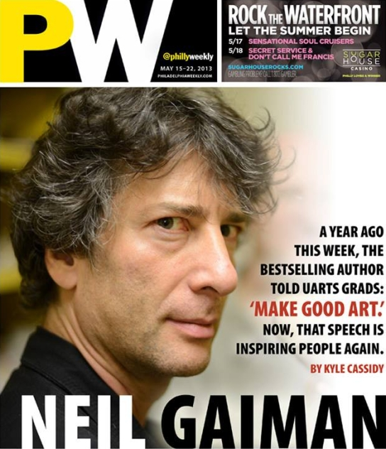 Cover Philadelphia Weekly Neil Gaiman Make Good Art Speech Book