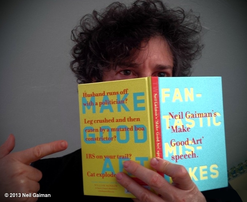 Neil Gaiman Holding Chip Kidd's MAKE GOOD ART Speech Book