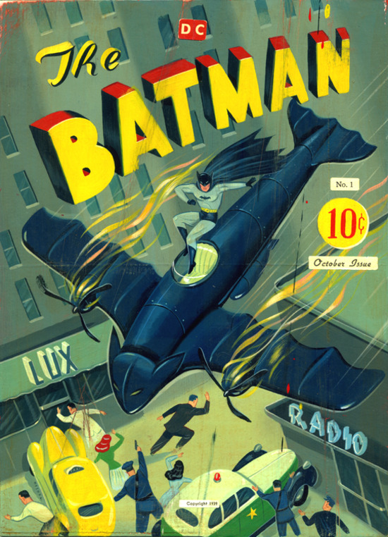 Ryan Heshka Retro-Style 1940's Batman Art Painting
